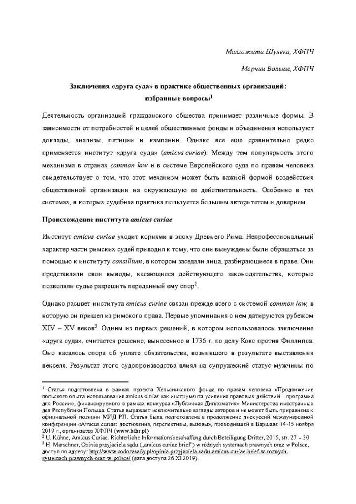 Заключения «друга суда» в практике общественных организаций: избранные вопросы