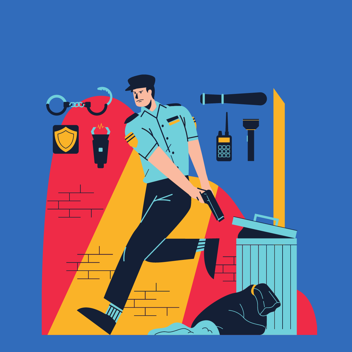 Red Yellow Blue and Violet Working Men Policeman Simplified Illustration Square Laptop Sticker